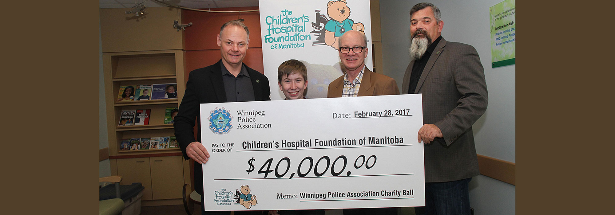 WINNIPEG POLICE ASSOCIATION DONATES $40,000 TO CHILDREN'S HOSPITAL FOUNDATION OF MANITOBA